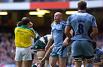 Cardiff Blues v Leicester Tigers - Heineken Cup Semi-Final at the Millennium Stadium in Cardiff..Cardiff's Martyn Williams looks to the sky..