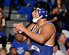 Jon Canas of Huntington reacts after defeating Audwin Philip of North Babylon at 182 pounds in the opening round of the Suffolk County varsity wrestling championship at North Babylon High School on Wednesday, Jan. 27, 2016. Canas rallied from a deficit to force overtime. He then scored a two-point takedown for an 8-6 decision to help 13th seeded Huntington to a 34-33 upset over fourth seeded North Babylon.
