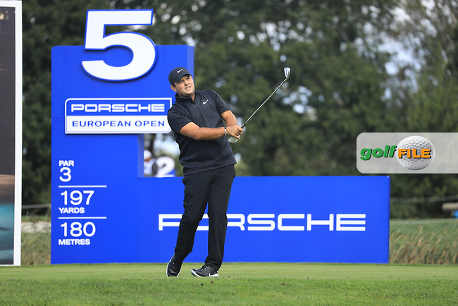 Patrick Reed (USA) on the 5th tee during the 1st round at the Porsche European Open, Green Eagles Golf Club, Luhdorf, Winsen, Germany. 05/09/2019.<br /> Picture Phil Inglis / Golffile.ie<br /> <br /> All photo usage must carry mandatory copyright credit (© Golffile | Phil Inglis)