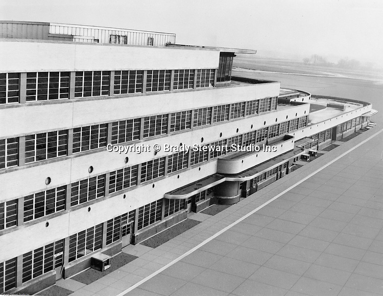 Pittsburgh PA 1953: View of the terminal at the Greater Pittsburgh Airport in 1953. In 1944, Allegheny County officials proposed to expand the military airport with the addition of a commercial passenger terminal in order to relieve the Allegheny County Airport, which was built in 1926 and whose capacity was quickly becoming insufficient to support the growing demand for air travel.  The new airport, christened as Greater Pittsburgh Airport opened on May 31, 1952. The first flight occurred on June 3, 1952.