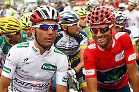 Alejandro Valverde (r) and Joaquin Purito Rodriguez during the stage of La Vuelta 2012 between Barakaldo and Valdezcaray.August 21,2012. (ALTERPHOTOS/Paola Otero) /NortePhoto.com