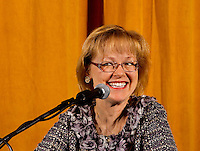 Photography of the Honorable Aldona Wos, speaking  at Belmont Abbey College, Monday night February 7, 2011.
