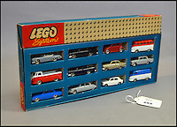 BNPS.co.uk (01202 558833)<br /> Pic: Astons/BNPS<br /> <br /> Lego System #698.<br /> <br /> A retired historian's remarkable collection of 700 toy cars has sold for almost &pound;100,000.<br /> <br /> Anders Clausager, 67, amassed so many toy cars over the past 60 years he got his own auction to off-load them.<br /> <br /> A collector from Sheffield paid &pound;2,100 for a pack of 12 Lego miniatures set, while a prestigious French Dinky Toys set went for &pound;1,450 and a Corgi Toys set went for &pound;850 at the auction in Dudley.