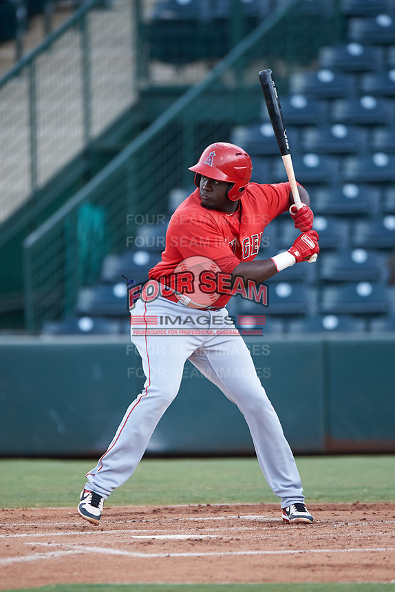 Cristian Gomez (37), of the AZL Angels, at bat during an Arizona League game against the AZL Padres 1 on August 5, 2019 at Tempe Diablo Stadium in Tempe, Arizona. AZL Padres 1 defeated the AZL Angels 5-0. (Zachary Lucy/Four Seam Images)