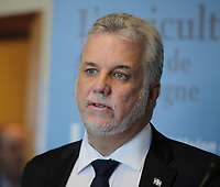 March 18, 2014 - Philippe Couillard, Liberal leader adress the UPA during the electoral campaign.<br /> <br /> Quebec provincial election will be held April7, 2014<br /> <br /> Philippe Couillard devant l'UPA et ses 38 groupes affiliés<br /> <br /> Photo : Raffi Kirdi