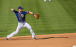 22 June 2013: San Diego Padres infielder Logan Forsythe in action against the Los Angeles Dodgers at Petco Park in San Diego, California. The Dodgers defeated the Padres 6-1 in the third game of their 4-game Divisional Series. Mandatory Credit: Ed Wolfstein Photo *** RAW (NEF) Image File Available ***