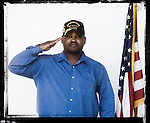 Veteran Cedric Pegues poses for a photo at a Veterans Day Program at the Oxford Conference Center in Oxford, Miss. on Thursday, November 11, 2010.