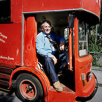 The driver of a bus which transports tourists between the old village and the car park in Polperro, Cornwall.
