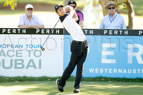 26.02.2016. Perth, Australia. ISPS HANDA Perth International Golf. Lucas Herbert (AUS) drives off the 13th tee during day 2.