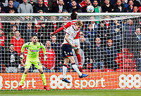 Bolton Wanderers' Harry Brockbank competing with Nottingham Forest's Joao Carvalho <br /> <br /> Photographer Andrew Kearns/CameraSport<br /> <br /> The EFL Sky Bet Championship - Nottingham Forest v Bolton Wanderers - Sunday 5th May 2019 - The City Ground - Nottingham<br /> <br /> World Copyright © 2019 CameraSport. All rights reserved. 43 Linden Ave. Countesthorpe. Leicester. England. LE8 5PG - Tel: +44 (0) 116 277 4147 - admin@camerasport.com - www.camerasport.com