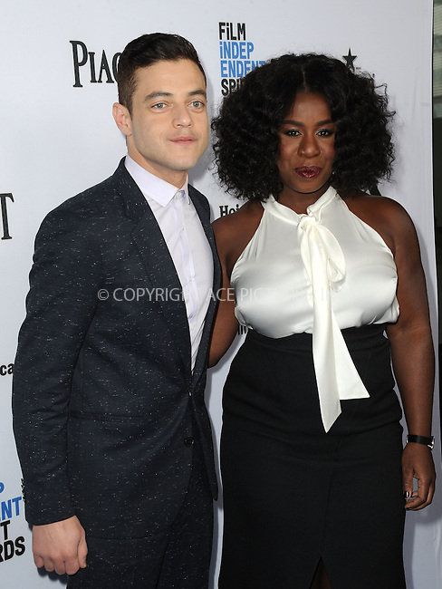 WWW.ACEPIXS.COM<br /> <br /> January 9 2016, New York City<br /> <br /> Rami Malek and Uzo Aduba arriving at the 2016 Film Independent Filmmaker Grant and Spirit Award Nominees Brunch at BOA Steakhouse on January 9, 2016 in West Hollywood, California. <br /> <br /> By Line: Peter West/ACE Pictures<br /> <br /> <br /> ACE Pictures, Inc.<br /> tel: 646 769 0430<br /> Email: info@acepixs.com<br /> www.acepixs.com