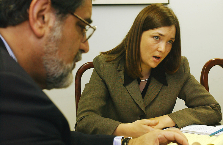 4/17/02.ISRAEL/AMERICAN-ARAB ANTI-DISCRIMINATION COMMITTEE--Khalil E. Jahshan, executive vice president of the American-Arab Anti-Discrimination Committee and the director of its lobbying arm, and Anne M. Hingeley, legislative coordinator, during an interview in the organization's Washington, D.C., office..CONGRESSIONAL QUARTERLY PHOTO BY SCOTT J. FERRELL