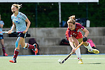 Mannheim, Germany, April 26: During the 1. Bundesliga Damen match between Mannheimer HC (red) and Uhlenhorster HC (light blue) on April 26, 2015 at Mannheimer HC in Mannheim, Germany. Final score 1-2 (0-2). (Photo by Dirk Markgraf / www.265-images.com) *** Local caption *** Charlotte van Bodegom #14 of Mannheimer HC