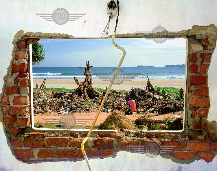 A displaced woman, framed in the window of an abandoned building, searches through shoreline debris left by the tsunami that struck South Asia on 26/12/2004. An underwater earthquake measuring 9 on the Richter scale triggered a series of tidal waves that caused devastation when they hit dry land. 12 countries were affected by the tsunami, with a combined death toll of over 200,000..