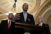 United States Senator John Thune (Republican of South Dakota) speaks during a press conference following policy luncheons on Capitol Hill in Washington D.C., U.S. on September 17, 2019.<br /> <br /> Credit: Stefani Reynolds / CNP