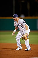 Pensacola Blue Wahoos first baseman Caleb Hamilton (24) during a Southern League game against the Biloxi Shuckers on May 3, 2019 at Admiral Fetterman Field in Pensacola, Florida.  Pensacola defeated Biloxi 10-8.  (Mike Janes/Four Seam Images)