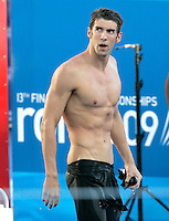 U.S. Michael Phelps reacts after setting the new world record clocking 49.82 in the Men's 100m Butterfly final at the Swimming World Championships in Rome, 1 August 2009..UPDATE IMAGES PRESS/Riccardo De Luca