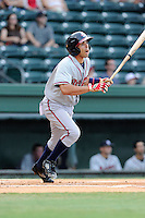 Designated hitter Jose Peraza (4) of the Rome Braves in a game against the Greenville Drive on Thursday, August 22, 2013, at Fluor Field at the West End in Greenville, South Carolina. Rome won, 7-3. (Tom Priddy/Four Seam Images)
