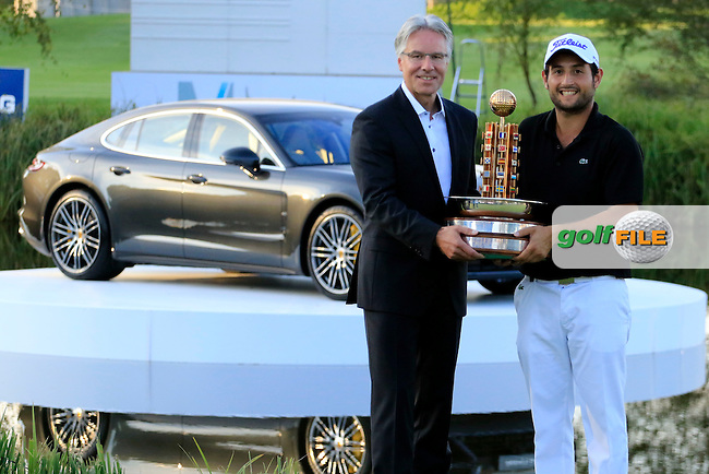 Alexander Levy (FRA) and Andreas Haffner, Board member Porsche AG poses with the trophy after the final round of the Porsche European Open, Golf Resort Bad Griesbach, Bad Griesbach, Germany. 25/09/2016<br /> Picture: Golffile | Phil Inglis<br /> <br /> <br /> All photo usage must carry mandatory copyright credit (&copy; Golffile | Phil Inglis)