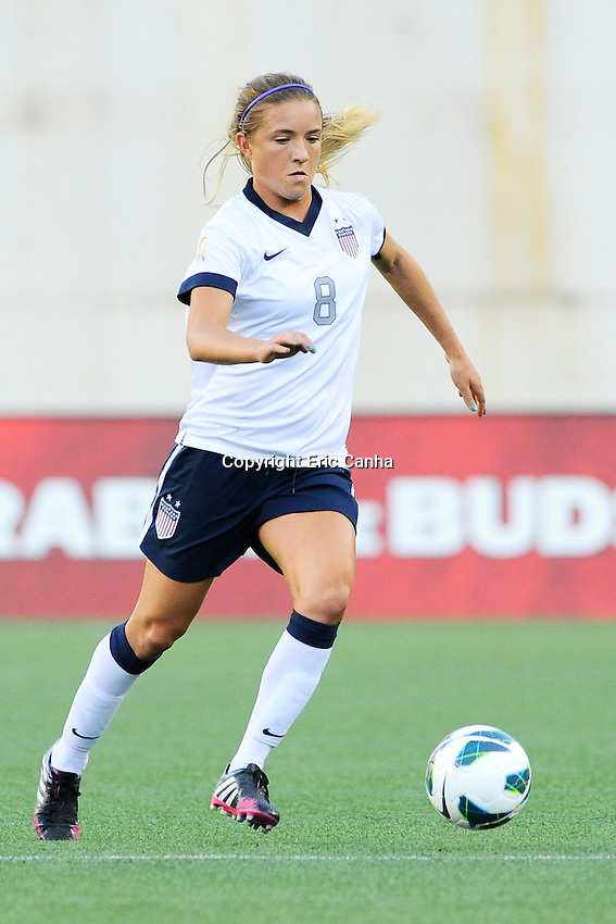 US Women's National midfielder Kristie Mewis (8) in action during the International Friendly soccer match between the USA Women's National team and the Korea Republic Women's Team held at Gillette Stadium in Foxborough Massachusetts.   Eric Canha/CSM