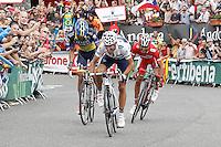 Alberto Contador (l), Joaquin Purito Rodriguez (r) and Alejandro Valverde during the stage of La Vuelta 2012 between Lleida-Lerida and Collado de la Gallina (Andorra).August 25,2012. (ALTERPHOTOS/Acero) /NortePhoto.com<br /> <br /> **CREDITO*OBLIGATORIO** <br /> *No*Venta*A*Terceros*<br /> *No*Sale*So*third*<br /> *** No*Se*Permite*Hacer*Archivo**<br /> *No*Sale*So*third*