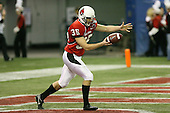 January 5th, 2008:  Ball State punter Chris Miller (35) punts the ball from his own end zone during the second quarter of the International Bowl at the Rogers Centre in Toronto, Ontario Canada...Rutgers defeated Ball State 52-30.  ..Photo By:  Mike Janes Photography