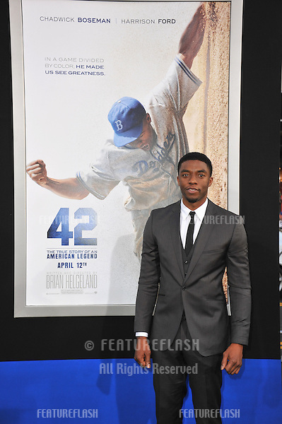"Chadwick Boseman at the Los Angeles premiere of his new movie ""42: The True Story of An American Legend"" at the Chinese Theatre, Hollywood..April 9, 2013  Los Angeles, CA.Picture: Paul Smith / Featureflash"