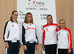 Tenis, Fed Cup 2011, play-off for group A.Slovakia Vs. Serbia, Official Draw.from left, Magdalena Rybarikova, Daniela Hantuchova, Jelena Jankovic and Aleksandra Krunic.Bratislava, 15.04.2011..foto: Srdjan Stevanovic/Starsportphoto ©