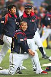 (L to R) Sho Nakata (JPN),  Kazuyoshi Tatsunami (JPN), .February 26, 2013 - WBC : .2013 World Baseball Classic, Exhibithion Game .match between Japan 0-1 Hanshin Tigers  .at Kyocera Dome, Osaka, Japan..(Photo by AJPS/AFLO SPORT)