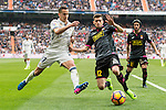 Lucas Vazquez of Real Madrid  fights for the ball with Aarón Martín of RCD Espanyol during the match Real Madrid vs RCD Espanyol, a La Liga match at the Santiago Bernabeu Stadium on 18 February 2017 in Madrid, Spain. Photo by Diego Gonzalez Souto / Power Sport Images