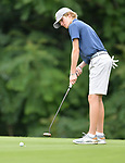 Luke McLaughlin of the Bellerive Country Club watches his putt on the third green on the first day of the Metropolitan Amateur Golf Association's 20th Junior Amateur Championship being held at the St. Clair Country Club in Belleville, IL on July 1, 2019. <br /> Tim Vizer/Special to STLhighschoolsports.com