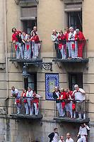 Espagne, Navarre, Pampelune: Fêtes de San Fermín, Lors de l'encierro  //  Spain, Navarre, Pamplona:  Festival of San Fermín, During the encierro ,   running of the bulls