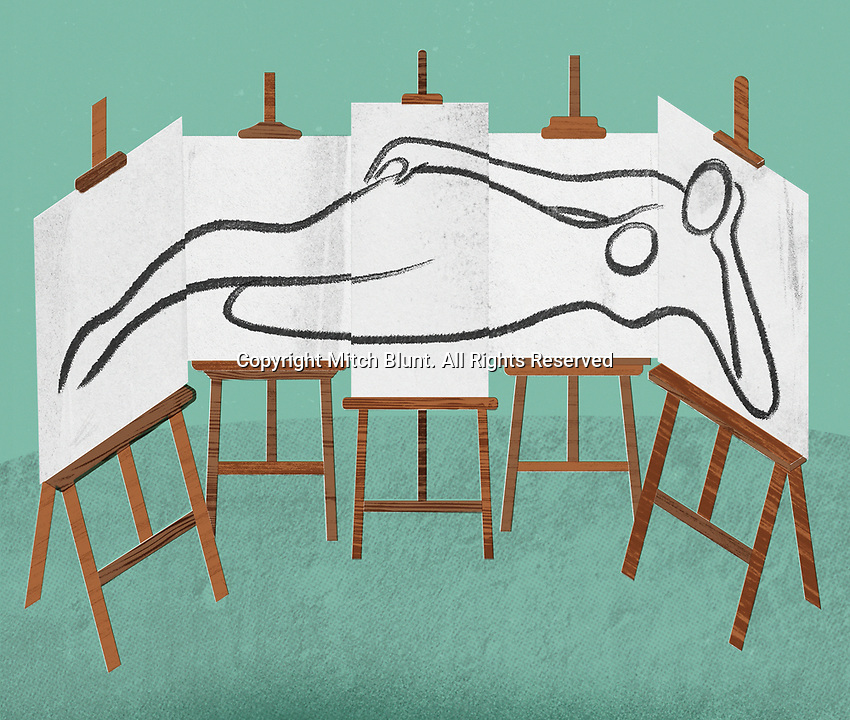 Painting if female body on five easels ExclusiveImage