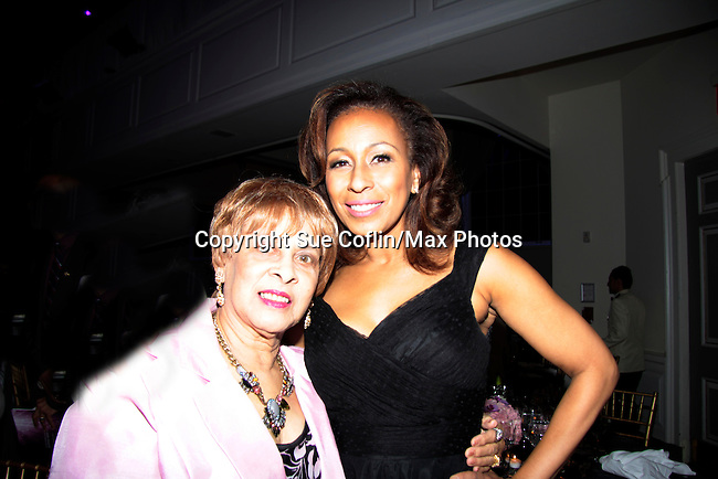 Tamara Tunie and her mom Gigi at 10th Annual Gala celebrating Figure Skating in Harlem's 18th year of operations at The Stars 2015 Benefit Gala on April 13, 2015 in New York City, New York honoring Olympic Champion Evan Lysacek, Gloria Steinem and Nicole, Alana and Juliette Feld with Mary Wilson as Mistress of Ceremony. (Photos by Sue Coflin/Max Photos)