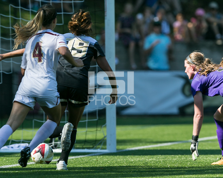 Newton, Massachusetts - September 24, 2017: NCAA Division I. Boston College (white) defeated Wake Forest University (black), 1-0, at Newton Campus Soccer Field.Offside, disallowed goal.
