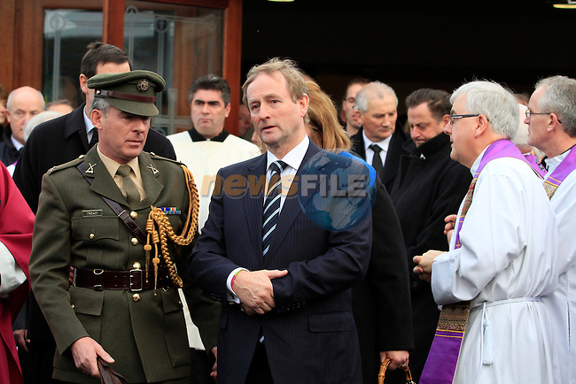 Taoiseach Enda Kenny at the Funeral of Minister of State Shane McEntee which took place today in Nobber, Co.Meath...Photo NEWSFILE/Jenny Matthews..(Photo credit should read Jenny Matthews/NEWSFILE)