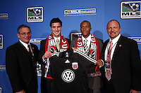 DC Utd General Manager Dave Kasper-Chris Pontius #7 overall draft pick-Rodney Wallace #6 overall draft pick-Head Coach Tom Soehn. MLS Superdraft 2009 held at Convention and Visitors Center, St Louis , MO January 15 2009.