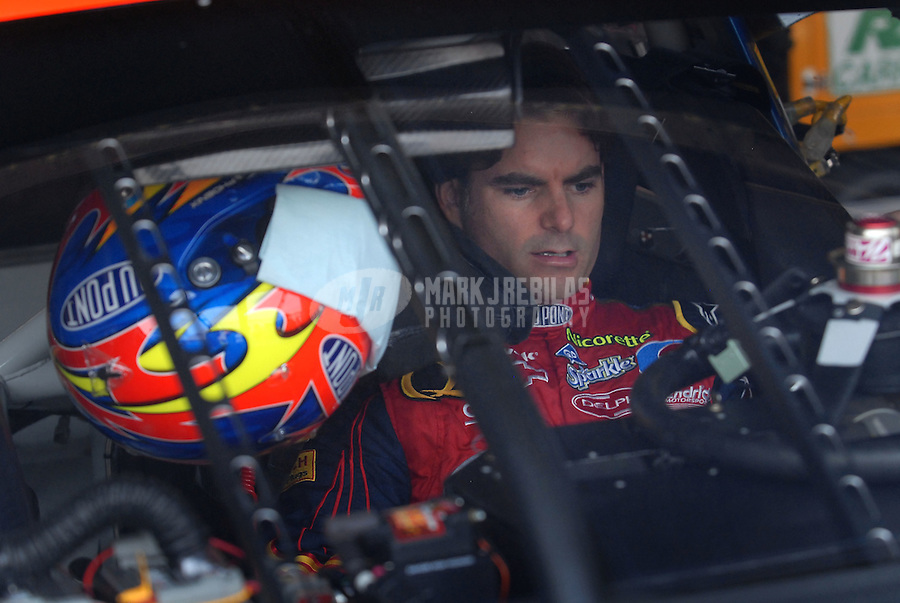 Jun 1, 2007; Dover, DE, USA; Nascar Nextel Cup Series driver Jeff Gordon (24) during practice for the Autism Speaks 400 at Dover International Speedway. Mandatory Credit: Mark J. Rebilas-US PRESSWIRE Copyright © 2007 Mark J. Rebilas