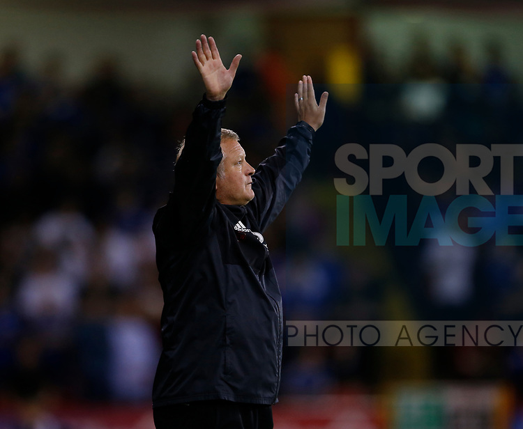 Chris Wilder manager of Sheffield Utd during the Carabao Cup, second round match at Bramall Lane, Sheffield. Picture date 22nd August 2017. Picture credit should read: Simon Bellis/Sportimage