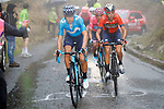 Mikel Landa Meana (ESP) Movistar Team and Vincenzo Nibali (ITA) Bahrain-Merida on the Mortirolo climb during Stage 16 of the 2019 Giro d'Italia, running 194km from Lovere to Ponte di Legno, Italy. 28th May 2019<br /> Picture: POOL Luca Bettini/LaPresse | Cyclefile<br /> <br /> All photos usage must carry mandatory copyright credit (© Cyclefile | POOL Luca Bettini/LaPresse)