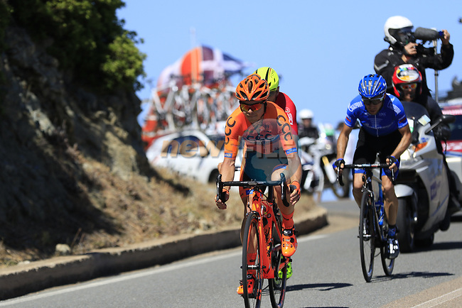 The breakaway group Jan Tratnik (SLO) CCC Sprandi Polkowice, Eugert Zhupa (ALB) Wilier Triestina-Selle Italia and Ivan Rovny (RUS) Gazprom-Rusvelo pass the stunning coastline at Villasimius during Stage 3 of the 100th edition of the Giro d'Italia 2017, running 148km from Tortoli to Cagliari, Sardinia, Italy. 7th May 2017.<br /> Picture: Eoin Clarke   Cyclefile<br /> <br /> <br /> All photos usage must carry mandatory copyright credit (&copy; Cyclefile   Eoin Clarke)