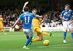 Motherwell v St Johnstone&hellip;13.08.16..  Fir Park<br />Danny Swanson scores for saints<br />Picture by Graeme Hart.<br />Copyright Perthshire Picture Agency<br />Tel: 01738 623350  Mobile: 07990 594431