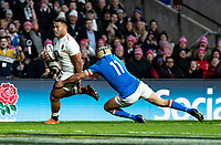 Manu Tuilagi of England heads for the try line to score his 2nd try during the Guinness Six Nations match between England and Italy at Twickenham Stadium on March 9th, 2019 in London, United Kingdom. Photo by Liam McAvoy.