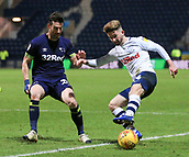 1st February 2019, Deepdale, Preston, England; EFL Championship football, Preston North End versus Derby County; Sean Maguire of Preston North End takes on David Nugent of Derby County on the edge of the Derby penalty area