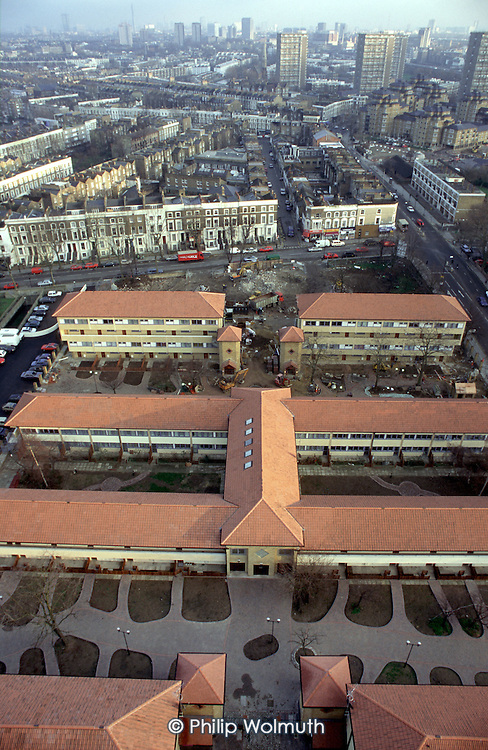 View over new flats built on the site of a demolished asbestos-ridden tower block on Elgin Estate, North Paddington, looking towards Central London. The estate was handed over to a resident-controlled housing association, Walterton and Elgin Community Homes,  by Westminster City Council following a ballot of residents.