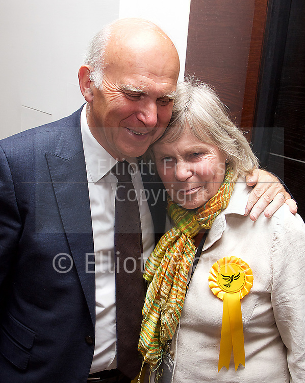 General Election count for the Twickenham &amp; Richmond Park constituencies at the Twickenham Rugby Stadium, Twickenham, Middlesex, Great Britain <br /> 8th June 2017 <br /> <br /> Vince Cable &amp; Rachel (wife)  <br /> wins Twickenham seat <br /> <br /> <br /> <br /> Photograph by Elliott Franks <br /> Image licensed to Elliott Franks Photography Services