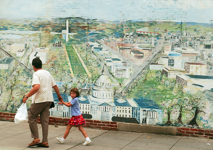 A mural of the Capitol of National Mall is painted on a wall on C Street, NW, around the corner from the My Brother's Place.