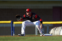 Batavia Muckdogs first baseman Ben Fisher (36) stretches for a throw during a game against the Lowell Spinners on July 11, 2017 at Dwyer Stadium in Batavia, New York.  Lowell defeated Batavia 5-2.  (Mike Janes/Four Seam Images)