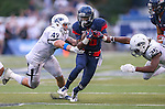 Arizona's Shun Brown (16) runs against Nevada defenders Jordan Dobrich (49) and Bryan Lane Jr. (25) during the second half of an NCAA college football game in Reno, Nev. on Saturday, Sept. 12, 2015. (AP Photo/Cathleen Allison)