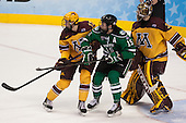 Justin Holl (MN - 12), Michael Parks (North Dakota - 15), Adam Wilcox (MN - 32) - The University of Minnesota Golden Gophers defeated the University of North Dakota 2-1 on Thursday, April 10, 2014, at the Wells Fargo Center in Philadelphia to advance to the Frozen Four final.